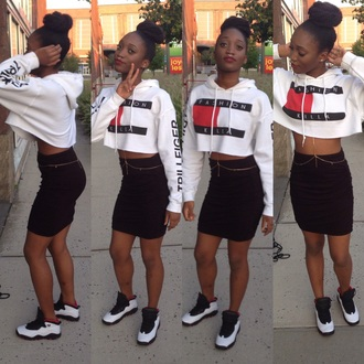 sweater tommy hilfiger fashion crop tops cropped sweater jordans style sneakers pencil skirt skirt white top urban