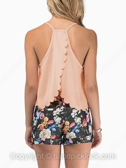 tank top scallop scalloped shirt peach dress peach tank top scalloped back
