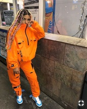 jacket,orange,mc+r,windbreaker,soft grunge,neon,matching set,off-white,jeans,two-piece,long sleeves