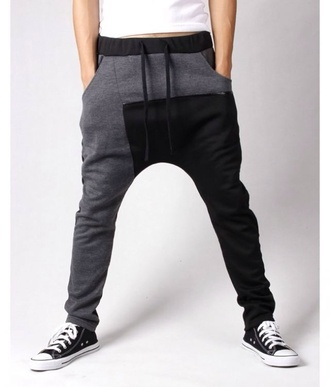 pants black white sweatpants comfy sweats grey leather grey sweatpants harem pants menswear black and grey