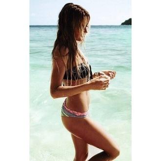 swimwear bikini tribal pattern bandeau beach print bikini bottoms bikini top