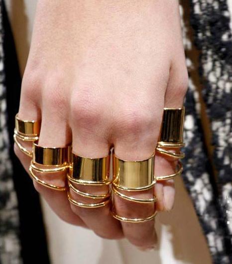 9pcs/set urban punk golden stack plain cute above knuckle ring
