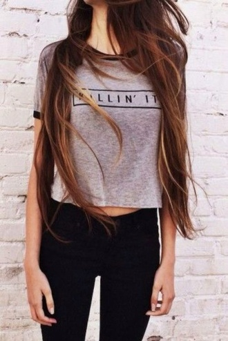 t-shirt jeans black friday cyber monday killin it shirt killin it shirt shorts grey top blouse grey shirt style clothes summer fall outfits spring winter outfits denim black denim black jeans grey t-shirt quote on it fashion brandy melville swag