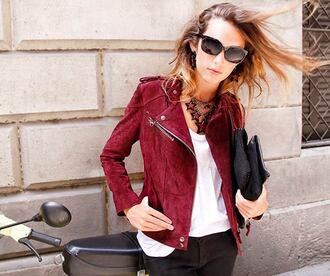 jacket moder biker jacket perfecto velvet burgundy maroon/burgundy suede suede jacket