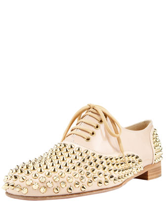 Christian Louboutin - Studded Lace-Up Oxford - Bergdorf Goodman