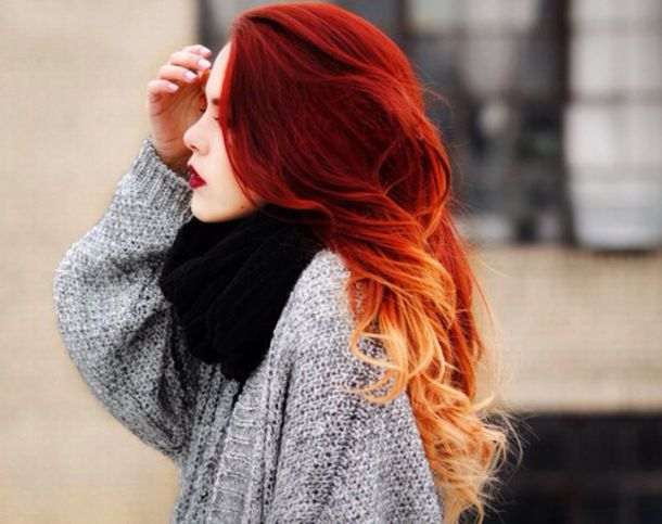 sweater red hair ombre hair dip dye hair grey sweater black scarf scarf gris