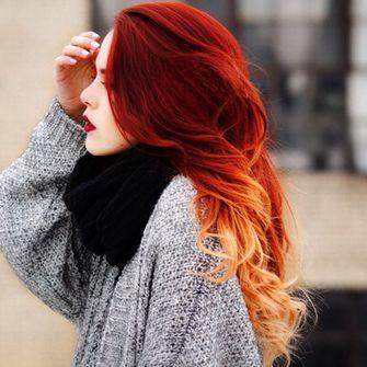 sweater scarf black hair grey sweater ombre hair dip dye hair scarf red