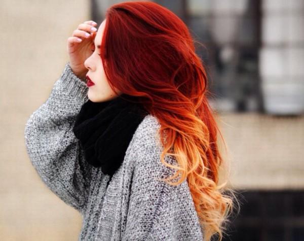 sweater red hair ombre hair dip dye hair grey sweater black scarf scarf gris