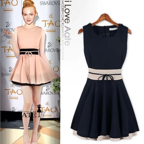 Spring 2014 new short section of mixed colors flounced waist dress WF-126 | Amazing Shoes UK