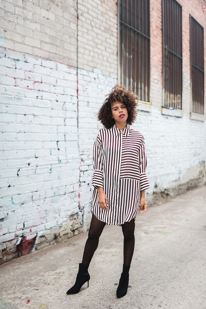 dress tumblr mini dress shirt dress stripes striped dress tights boots black boots ankle boots