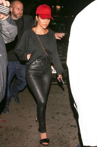 pants sandals kourtney kardashian hat top leather pants shoes kardashians