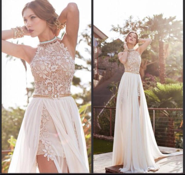 2 in 1 white dress lace