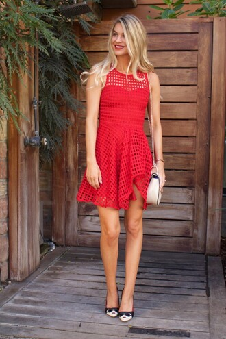 dress eyelet dress red dress mini dress short dress summer dress summer outfits date outfit date dress pumps bag shoulder bag white bag eyelet detail