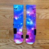 socks,galaxy socks,elites,nike socks,blue purple,galaxy print,dope,mens socks,womens socks,3d print socks,nike elite socks