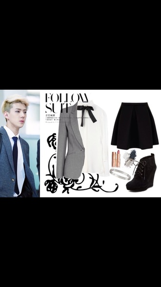 blouse sehun style korean fashion korean style white white blouse skirt top shirt shoes jacket coat fashion cool kawaii grey girly girl