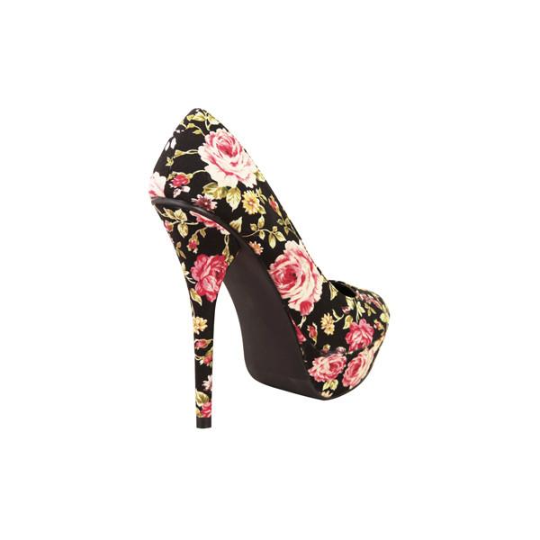 Dressrail.com - Summer Platform Floral Stiletto Heels-Black - Polyvore