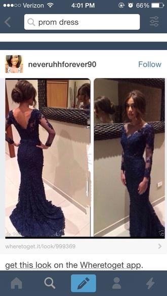 dress lace prom dress navy blue dress