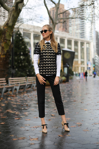 the classy cubicle blogger top sunglasses cropped pants white shirt nude high heels