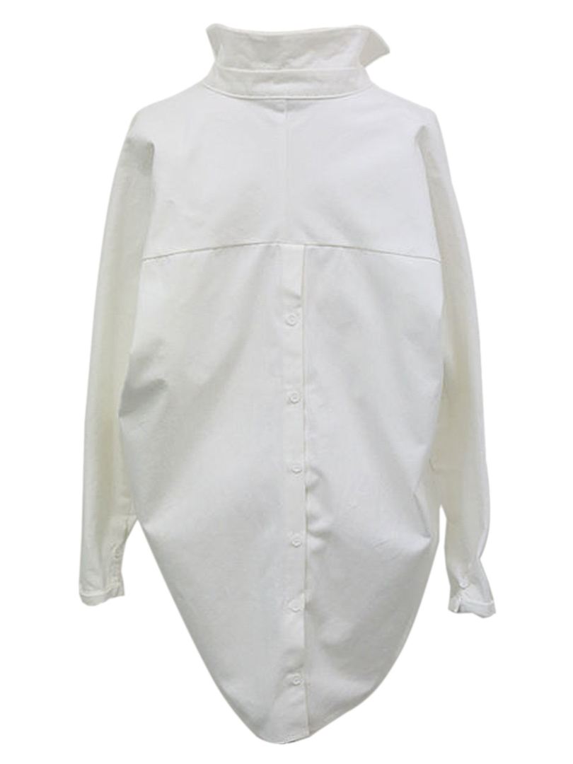 White Oversize Shirt with Wrap Placket - Choies.com
