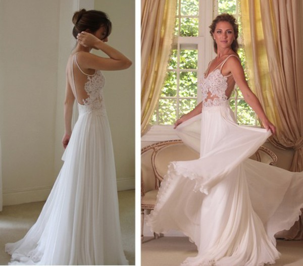 A line Chiffon Backless Lace Wedding Dresses, White Long Lace Prom ...