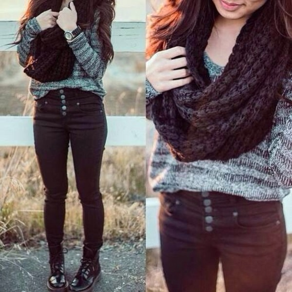 pants black high waisted pants grey sweater sweater jeans