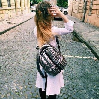 bag backpack rucksack silver bag silver silver backpack quilted quilted backpack quilted bag streetstyle accessories white shiny girl