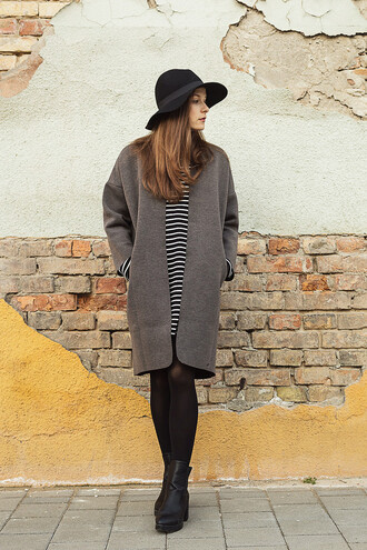 iemmafashion blogger striped dress grey coat floppy hat chunky boots coat dress shoes jewels