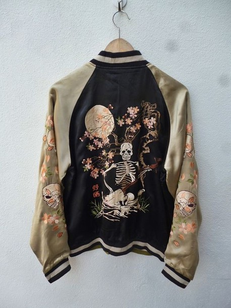 jacket letterman vintage skull skeleton grunge grunge jacket gold black black and gold shiny flowers bomber jacket baseball jacket coat skulljacket