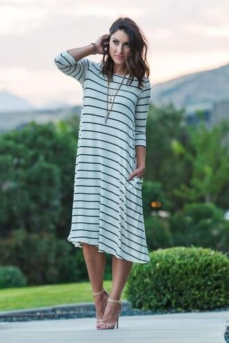 dress pocket dress midi dress stripes striped dress three-quarter sleeves necklace sandals sandal heels high heel sandals nude sandals spring outfits spring dress