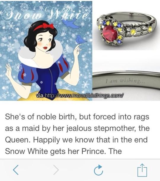 jewels silver ring red disney princess disney