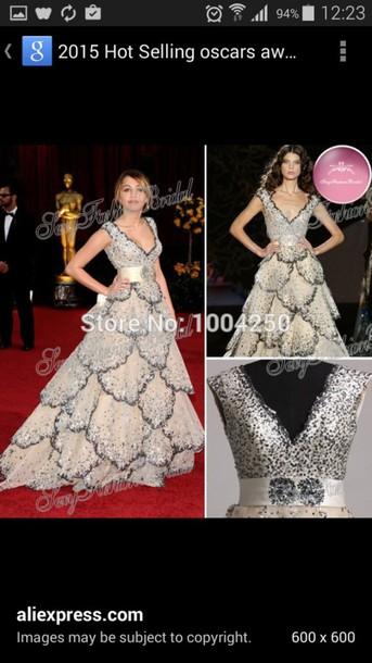 dress sequin dress miley cyrus oscar  dress