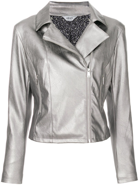 jacket biker jacket metallic women cotton grey