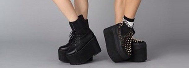 Shoes: platform shoes, platform sneakers, black, slip on shoes ...