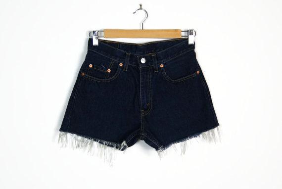 cut off high waist dark blue denim shorts // door shopSHEWOLF
