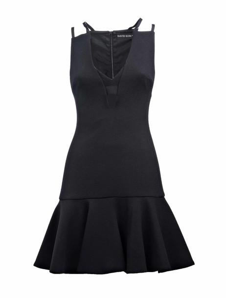 david koma dress plunge dress black