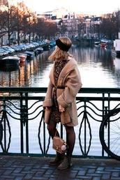 coat,tumblr,camel,camel coat,belt,dress,mini dress,printed dress,tights,boots,flat boots,bag,gold bag,headband,grey boots,ankle boots