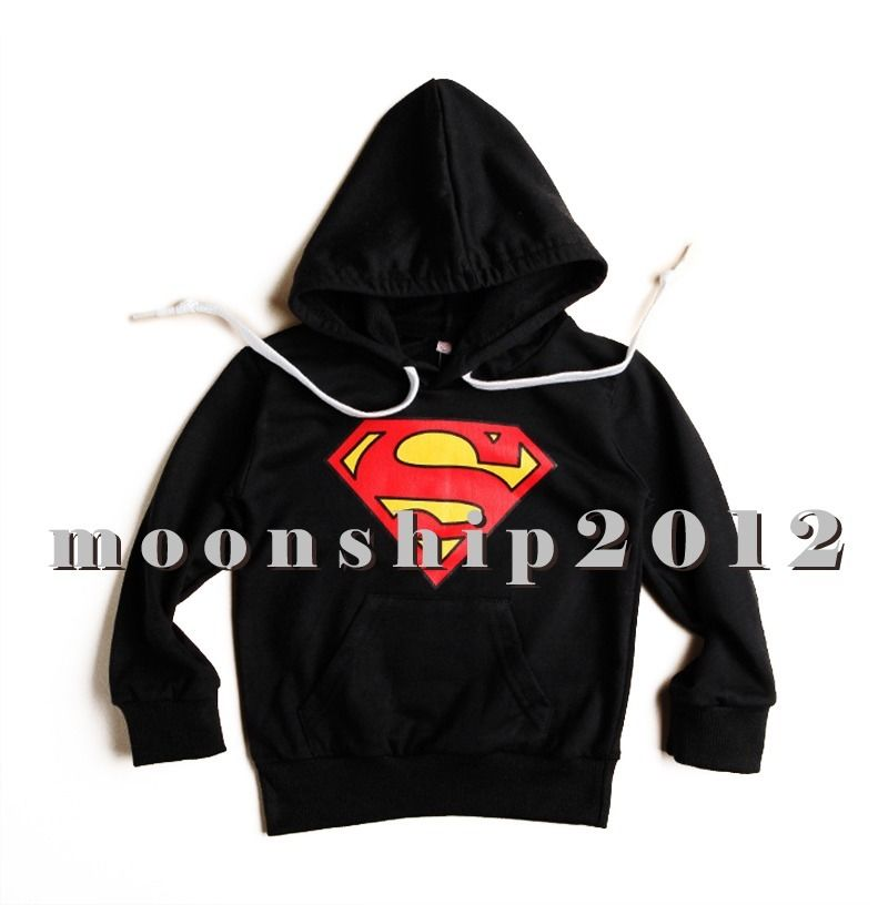 Toddlers boys sweater hoodies outerwear superman long sleeve black size 90 2