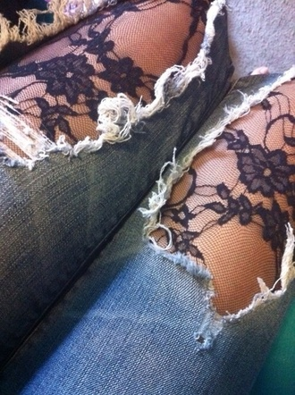 jeans pants lace tights ripped jeans lace up lace jeans lace jeans ripped black lace tights lace black floral grunge