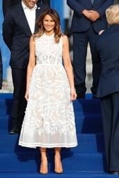 dress,melania trump,white,white dress,summer,summer dress,summer outfits,heels,high heels