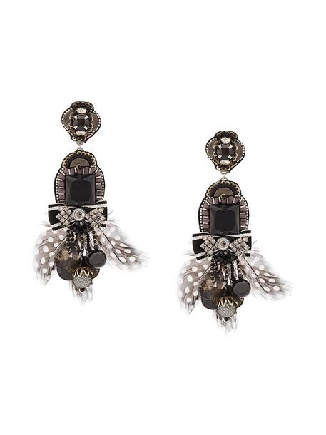 Ranjana Khan women earrings gold black jewels