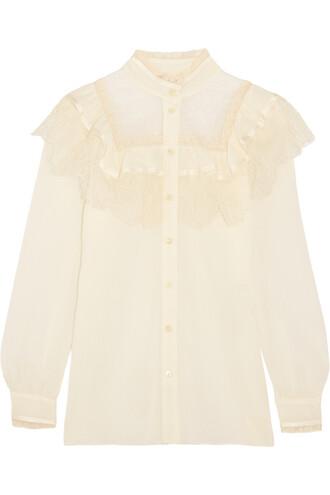 blouse lace cotton silk top