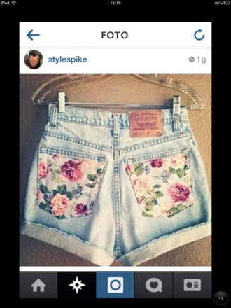 shorts flowered shorts blue selective potential instaclothes instagram sunflower pockets double pocket spring
