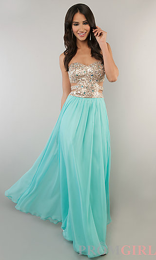 Strapless prom gown with cut out side, beaded prom dress