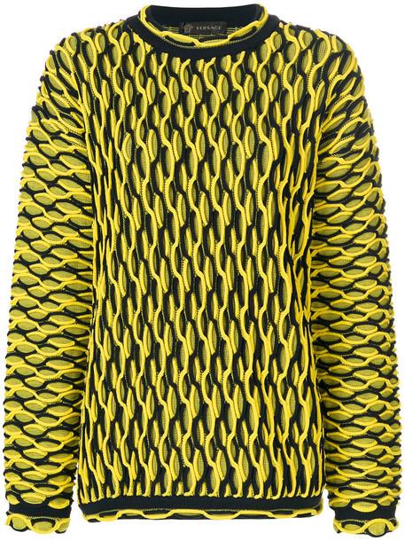 Versace - oversized knit jumper - women - Polyamide - 40, Yellow/Orange, Polyamide