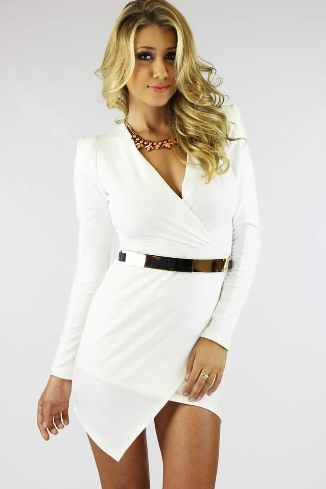 Elsie Bodycon Dress - White @ LushFox.com :: Current Fashion Trends & Styles