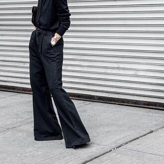 pants tumblr black pants wide-leg pants shirt black shirt all black everything