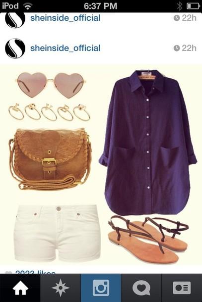 shoes heart sunglasses white shorts satchel sandals