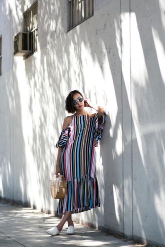 lefashion blogger off the shoulder dress striped dress colorful cut out shoulder summer dress raffia bag summer outfits