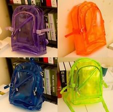 Newest Popular Colorful Clear Transparent Plastic Backpack Bag Bookbag 6 Choice | eBay