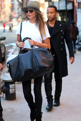 ankle boots boots chrissy teigen hat fedora shirt